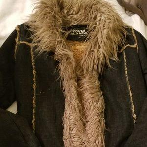 Costa Blanca Denim coat w/Sherpa & faux Fur trim